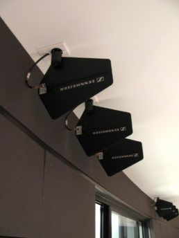 Sennheiser antennas for wireless mics for Thomas Jefferson Independent Day School auditorium
