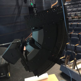 Bose Cluster being installed in the State Fair State College auditorium.