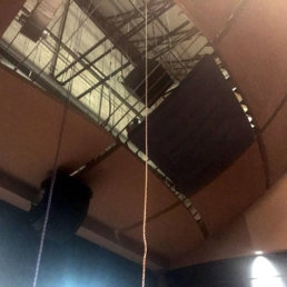 cluster hung pre-cloud being installed in the State Fair State College auditorium during renovation